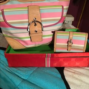 Coach Multicolor Stripe Hampton Purse w/Wallet